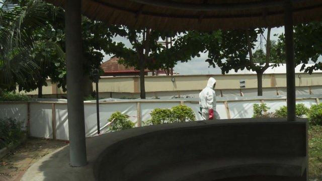 Outside the Lagos Ebola treatment centre