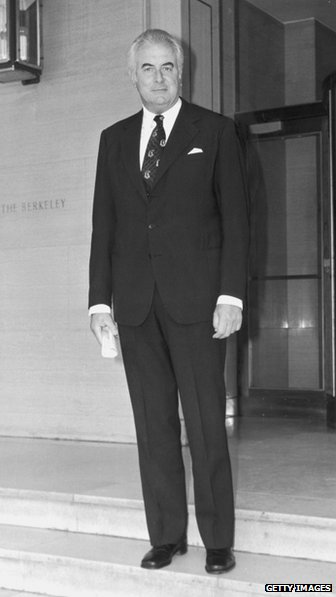 Former Australian Prime Minister Gough Whitlam on his way to an audience with Queen Elizabeth II at Buckingham Palace, 29 June 1976