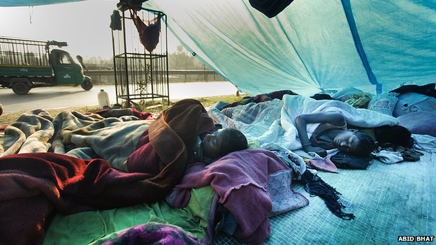 People living in relief camps in Srinagar