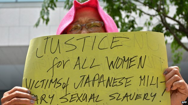 "A former ""comfort woman"" demands justice near the parliament in Tokyo"