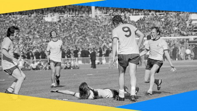 Arsenal's Charlie George celebrates scoring in the 1971 FA Cup final