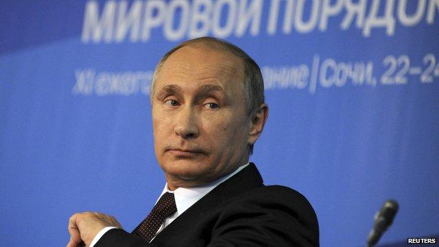 Russian president Vladimir Putin at a meeting in Sochi