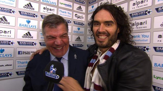 West Ham 2-1 Man City: Russell Brand hijacks Sam Allardyce interview