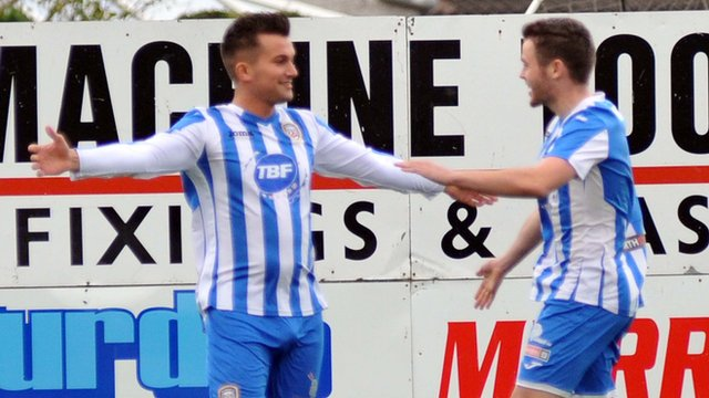 Coleraine's Mark Miskimmin celebrates opening the scoring against Portadown