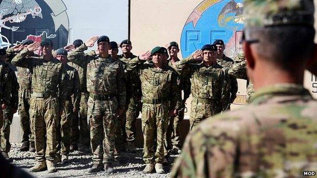 Afghan soldiers saluting