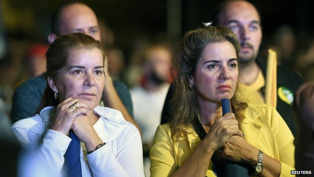 Supporters of Aecio Neves react to the results