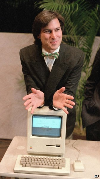 January 24, 1984 - Steve Jobs leans on the new Macintosh personal computer