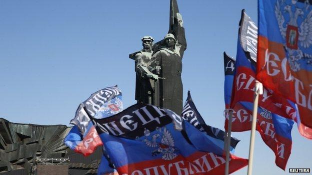 Pro-rebel flags in Donetsk