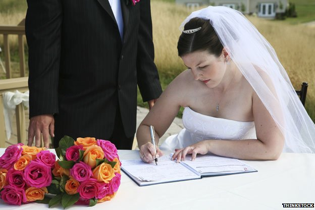 Bride signing register