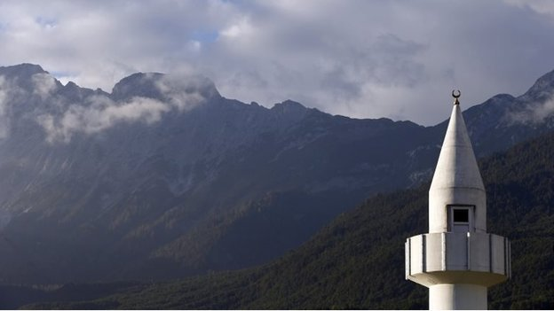 A mosque is pictured against mountains in the Tyrolean village of Telfs in western Austria