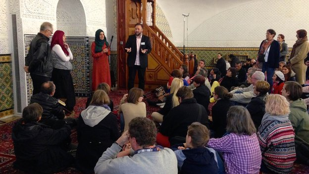 A meeting inside Vienna's main mosque for its open day