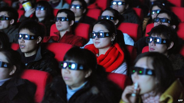 Chinese movie-goers watch a 3D film