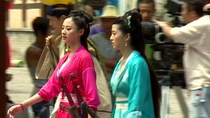 Chinese actors on film set
