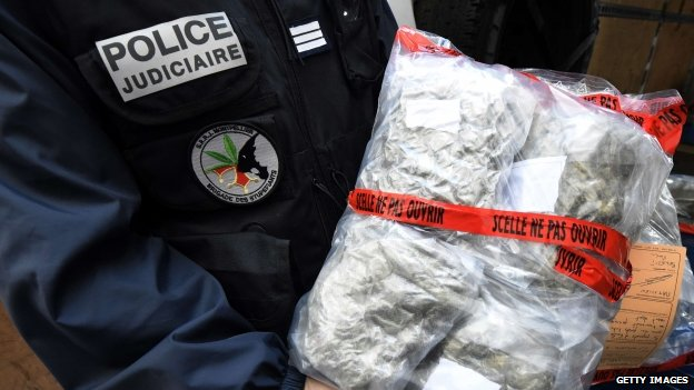 Police in France showing seized cannabis