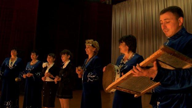 Concert at a cultural centre outside Petropavlovsk