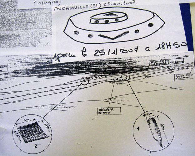 Sketches of a UFO seen near Aucamville