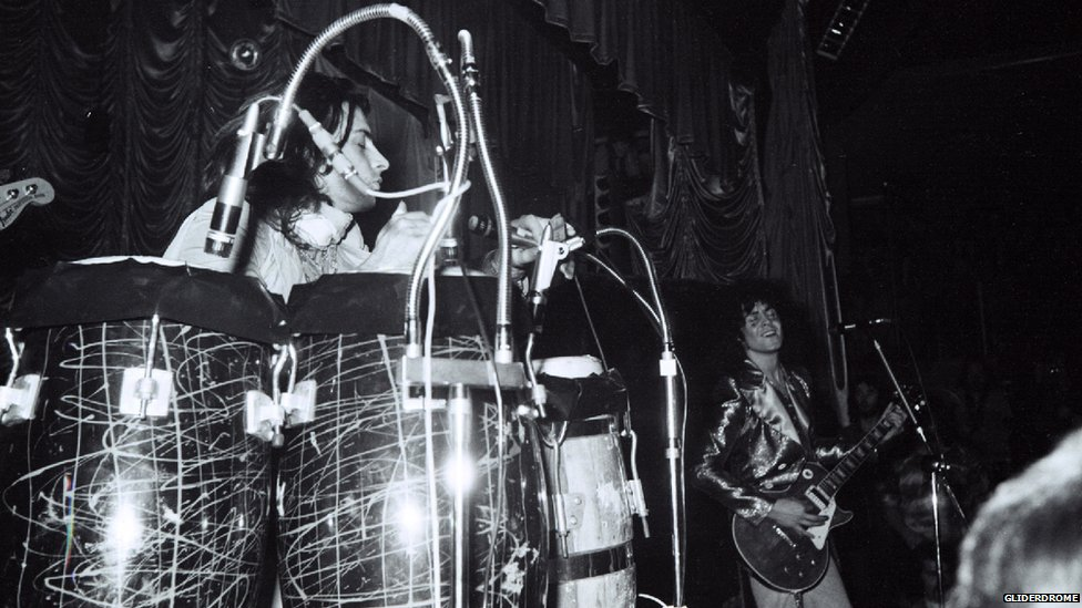 Marc Bolan on stage at the Gliderdrome