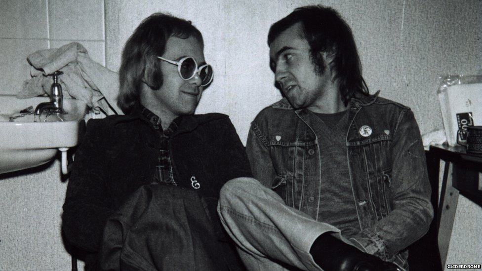 Elton John and Bernie Taupin in the star dressing room of the Gliderdrome
