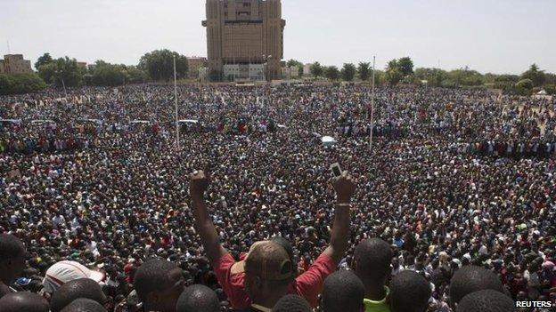Protesters in the Place de la Nation in Ouagadougou