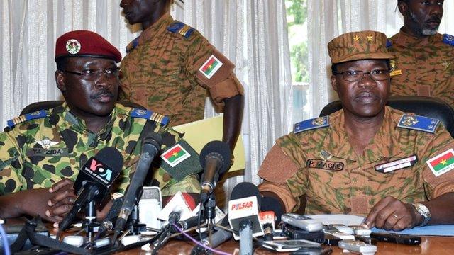 Lieutenant-Colonel Yacouba Isaac Zida (L) and General Pingrenoma Zagre (R)