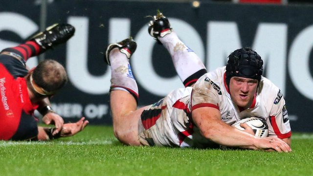 Declan Fitzpatrick goes over for Ulster's third try against the Dragons