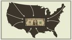 Illustration of USA with arrow pointing to dollar bill