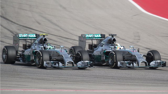 Lewis Hamilton overtakes Nico Rosberg at the United States Grand Prix.