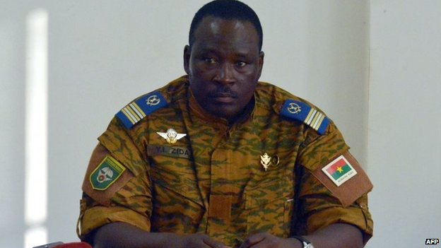 Burkinese Lieutenant-Colonel and interim leader Isaac Zida attends a meeting with opposition leaders in Ouagadougou, 2 November 2014