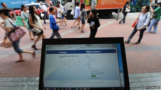 Computer displaying Facebook in China