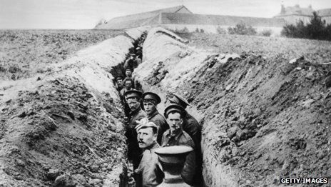 British soldiers in trench