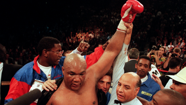 George Foreman becomes world heavyweight champion in 1994