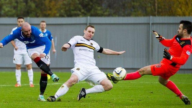 Kris Boyd scores for Rangers against Dumbarton