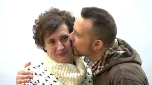 Teresa Romero being kissed on the cheek by he partner