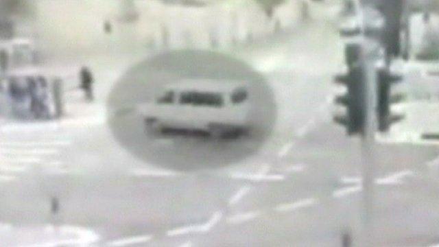 Car approaching pedestrians