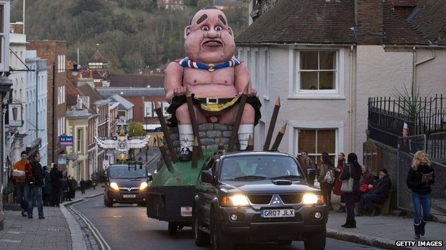 An effigy of defeated Scottish independence leader Alex Salmond is paraded through Lewes, Sussex