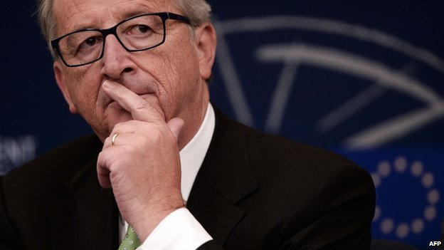EU Commission President Jean-Claude Juncker at a press conference in Strasbourg on 22 October 2014