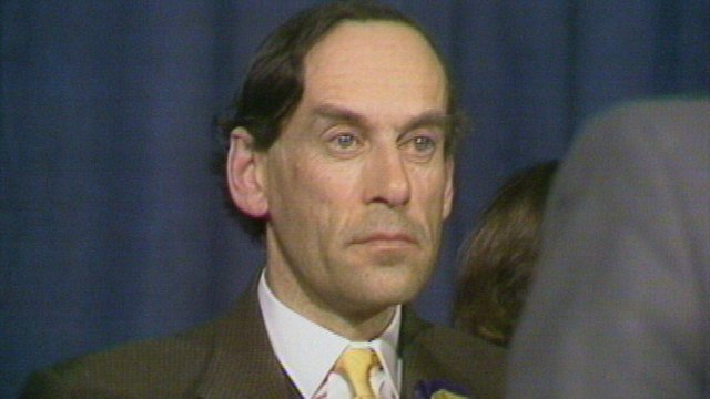Jeremy Thorpe reacts to his defeat in North Devon