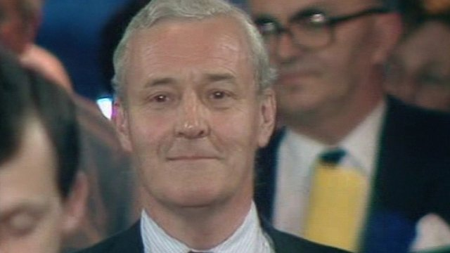 Tony Benn reacts to his defeat in Bristol East