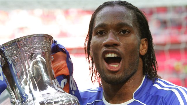 Chelsea's Didier Drogba celebrates with the 2007 FA Cup