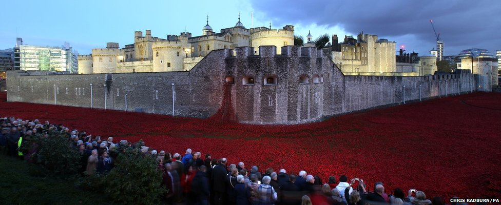 Members of the public stop to look at the ceramic poppies (5 November 2014)