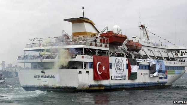 Turkish ship Mavi Marmara, carrying activists to take part of a humanitarian convoy to Gaza, leaves from a port in Istanbul, Turkey - 22 May 2010.