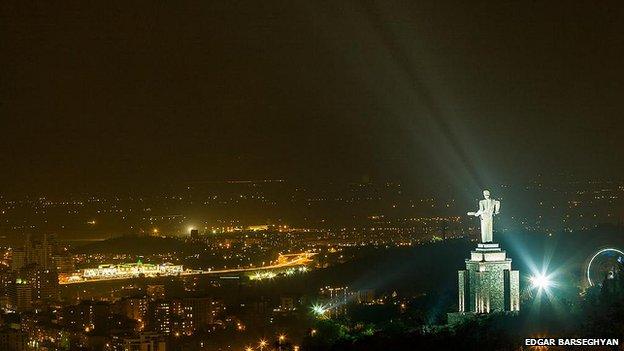 a night view of Yerevan, Armenia