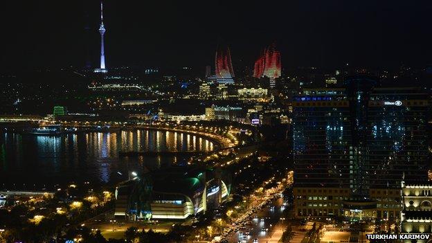 a night view of Baku, Azerbaijan