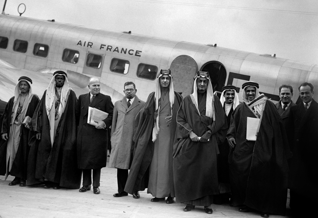 Saudi Arabia's Crown Prince Faisal ibn Abdul Aziz Al Saud (5-R) in Paris in March 1939