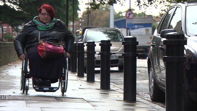 Woman in wheelchair in London