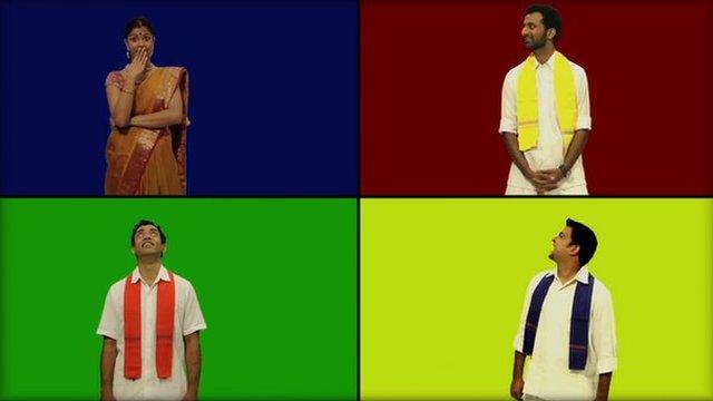 Four actors in split-screen image