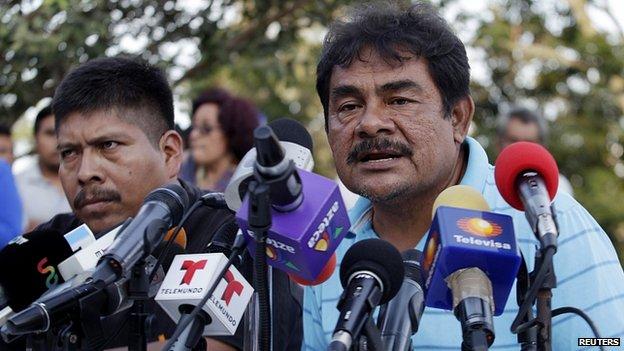 Felipe de la Cruz, father of a missing student, addresses the media in Ayotzinapa. 7 Nov 2014