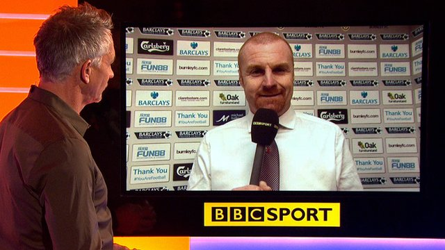 Burnley manager Sean Dyche speaks to Match of the Day presenter Gary Lineker
