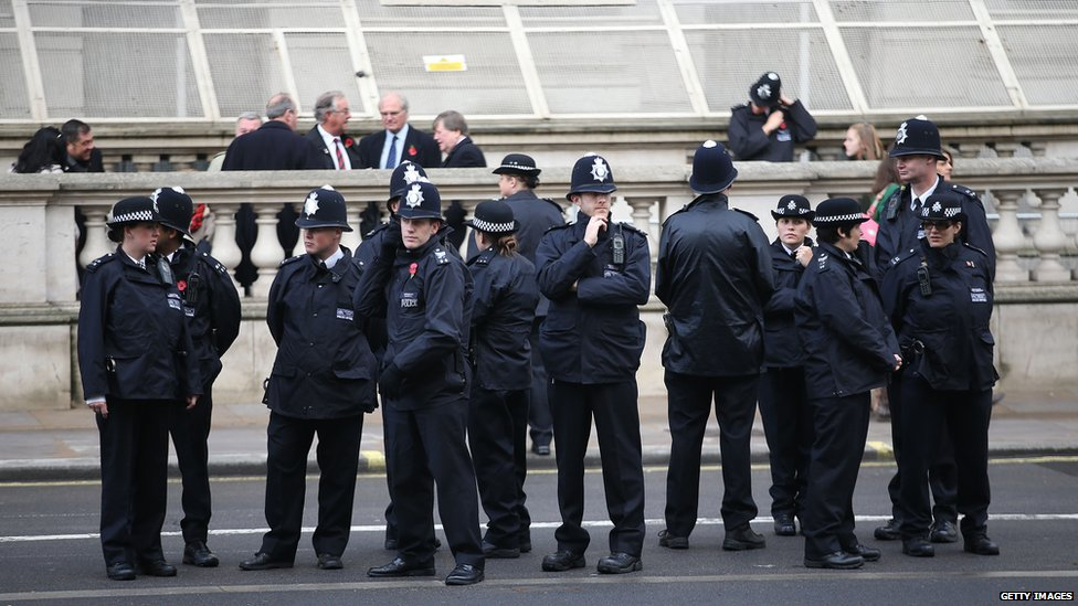Police officers prior the annual Remembrance Sunday Service at the Cenotaph on Whitehall