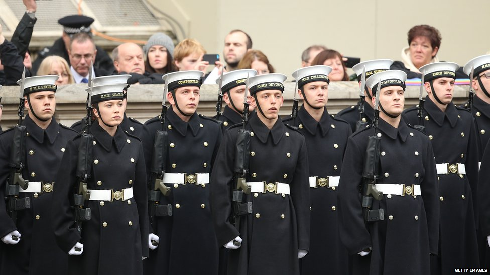 Members of the armed forces attend the annual Remembrance Sunday Service at the Cenotaph